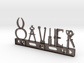 Xavier Nametag in Polished Bronzed Silver Steel