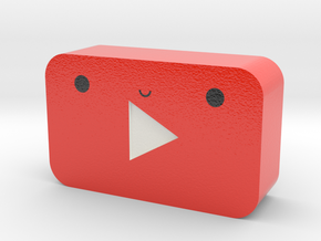 Kawaii Youtube Play Button in Glossy Full Color Sandstone