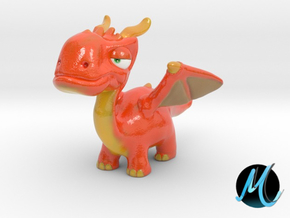 Dragon Sculpture - Fire Drake in Coated Full Color Sandstone