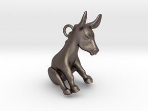 Donkey Pendant in Polished Bronzed Silver Steel