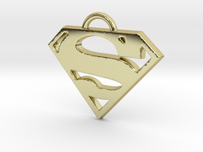Superman Pendant in 18k Gold