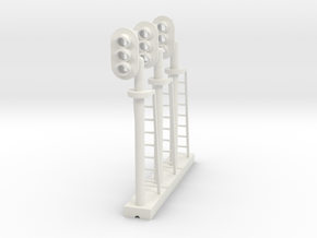 Block Signal 3 Light LH (Qty 3) - HO 87:1 Scale in White Natural Versatile Plastic