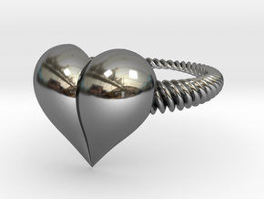 Size 6 Heart Ring in Fine Detail Polished Silver