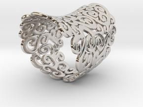 Ornate Ring in Rhodium Plated Brass: 5 / 49