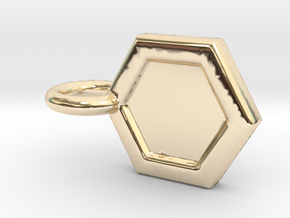 Honeycomb Charm in 14k Gold Plated Brass