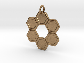 Honeycomb Ring Pendant in Natural Brass