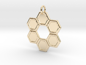 Honeycomb Ring Pendant in 14K Yellow Gold
