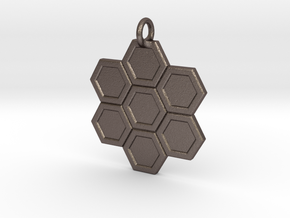 Honeycomb Pendant in Polished Bronzed Silver Steel