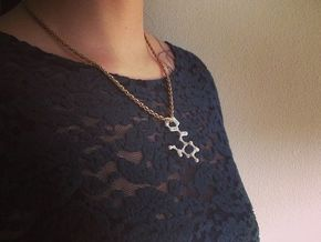 Cocaine Molecule Necklace Keychain in White Strong & Flexible Polished