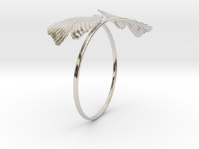 Ginkgo Bracialet in Rhodium Plated Brass
