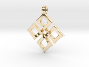 Simple Square Celtic Knot Cross Pendant in 14k Gold Plated Brass