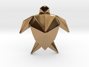 Origami Turtle  in Polished Brass