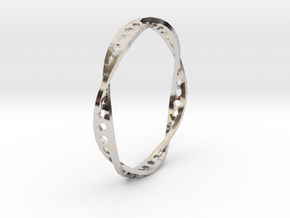 Twisted Hex Ring (Size 7) in Rhodium Plated Brass