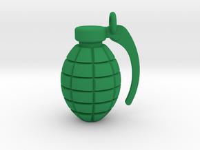Grenade pendant/keyring in Green Processed Versatile Plastic
