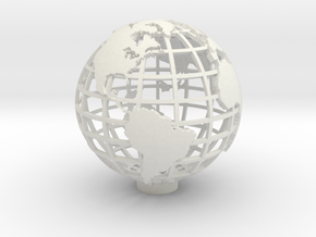 Gridded Globe for Mercator Projection 12cm in White Strong & Flexible