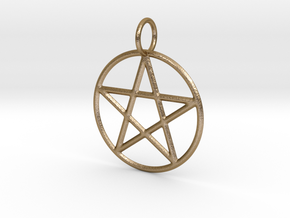 Pentacle Pendant in Polished Gold Steel