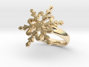 Snowflake Ring 2 d=17.5mm 0h35d175 in 14k Gold Plated Brass