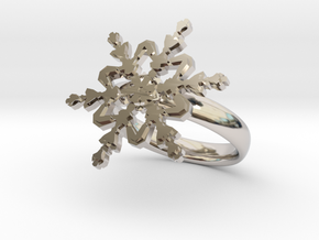 Snowflake Ring 2 d=17.5mm 0h35d175 in Rhodium Plated Brass