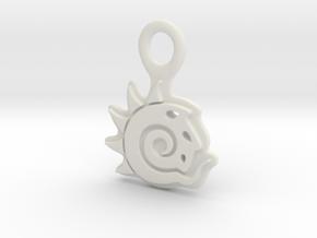 Keychain Pendant Lightwave Logo in White Natural Versatile Plastic