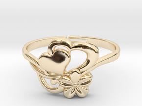 Flower Ring 1  in 14k Gold Plated Brass