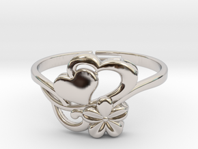 Flower Ring 1  in Rhodium Plated Brass