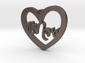 Mama heart in Polished Bronzed Silver Steel