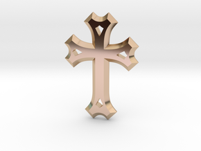 East Syriac Cross Necklace Pendant or Brooch 50mm in 14k Rose Gold Plated Brass