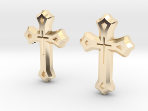 West Syriac Cross Earring Set (25mm) in 14k Gold Plated Brass