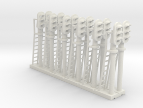 Block Signal 3 Light (Qty 12) - N 160:1 Scale in White Strong & Flexible