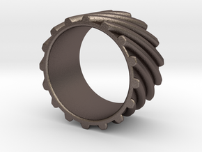 Helical Gear Ring US Size 10 in Polished Bronzed Silver Steel