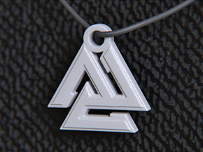 Valknut Pendant in White Strong & Flexible Polished