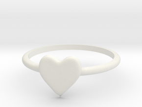 Heart-ring-solid-size-6 in White Natural Versatile Plastic