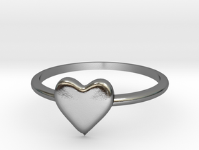 Heart-ring-solid-size-6 in Polished Silver
