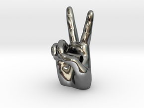 Peace Sign with Chain Tube in Fine Detail Polished Silver