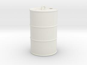 Oil drum keyring in White Natural Versatile Plastic