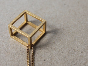 CUBE - ring or pendant - 4P in Polished Gold Steel