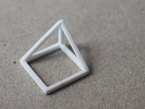 CUBE - ring or pendant - 1P in White Natural Versatile Plastic