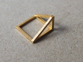 CUBE - ring or pendant - 1P in Polished Gold Steel