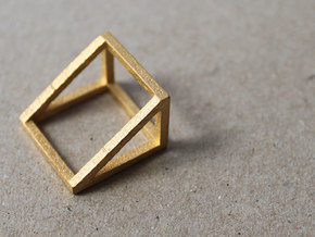 CUBE - ring or pendant - 2P in Polished Gold Steel