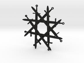 8 of Swords Pendant in Black Natural Versatile Plastic