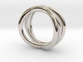 Three Orbits Entwined:Trinity UK Size O (US  7¼)  in Rhodium Plated Brass