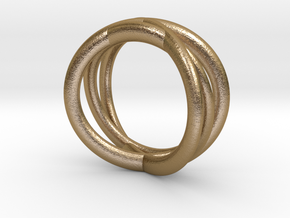 Three Orbits Entwined:Trinity UK Size O (US  7¼)  in Polished Gold Steel