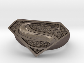 Superman Ring  in Polished Bronzed Silver Steel: 8 / 56.75