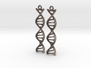 DNA Earrings in Polished Bronzed Silver Steel