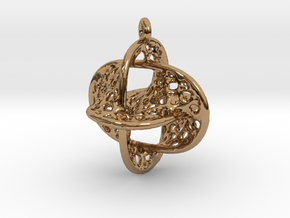 Voronoi Borromean Pendant (Earrings) in Polished Brass