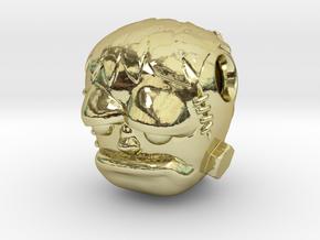 Reversible Frankenstein head pendant in 18k Gold Plated Brass