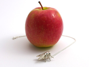 Drosophila Fruit Fly Pendant - Science Jewelry in Polished Silver