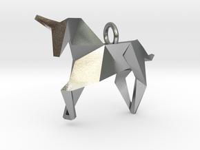 Origami Unicorn in Natural Silver