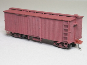 HOn3 25 foot Boxcar [without roof] in White Natural Versatile Plastic