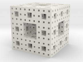 Menger Sponge in White Natural Versatile Plastic